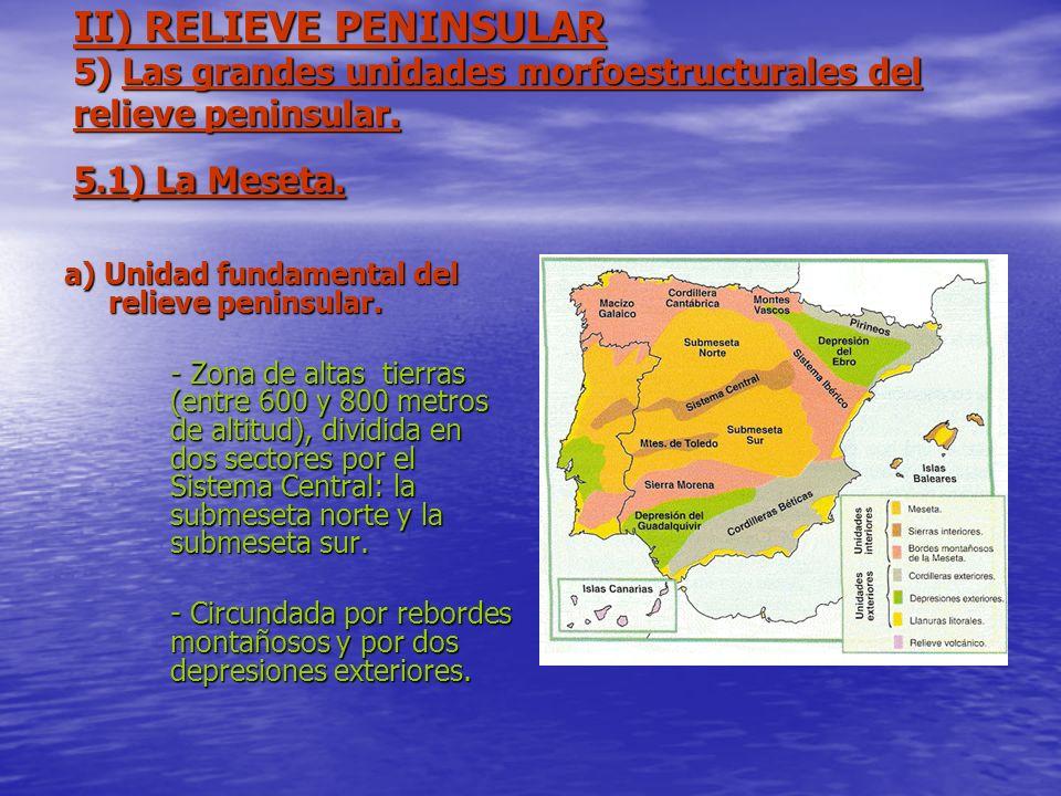 II) RELIEVE PENINSULAR 5) Las grandes unidades morfoestructurales del relieve peninsular. 5.1) La Meseta.