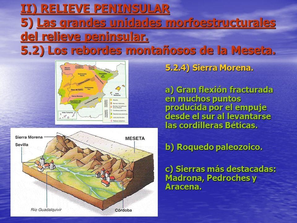 II) RELIEVE PENINSULAR 5) Las grandes unidades morfoestructurales del relieve peninsular. 5.2) Los rebordes montañosos de la Meseta.