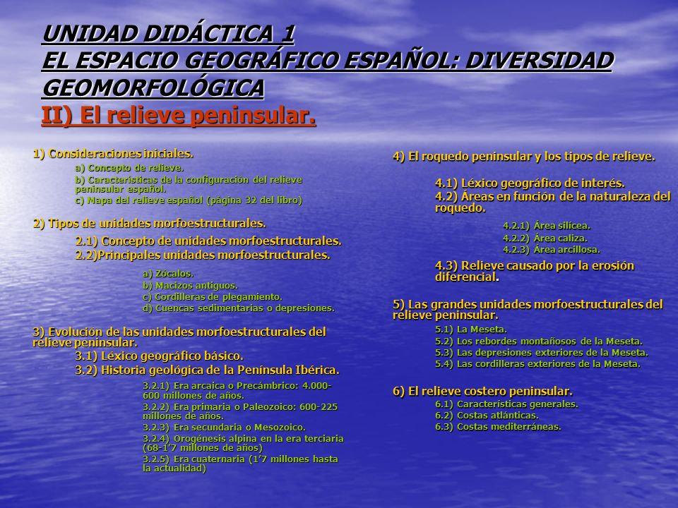 UNIDAD DIDÁCTICA 1 EL ESPACIO GEOGRÁFICO ESPAÑOL: DIVERSIDAD GEOMORFOLÓGICA II) El relieve peninsular.