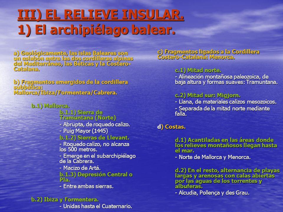 III) EL RELIEVE INSULAR. 1) El archipiélago balear.