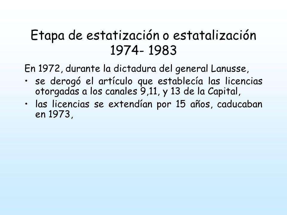 Etapa de estatización o estatalización 1974- 1983