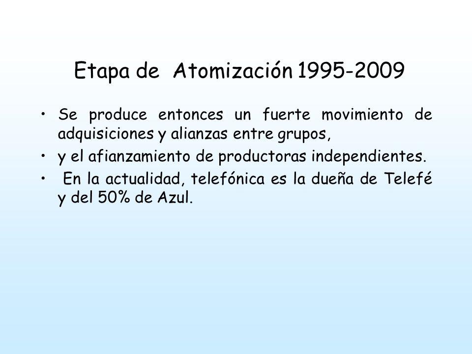 Etapa de Atomización 1995-2009 Se produce entonces un fuerte movimiento de adquisiciones y alianzas entre grupos,