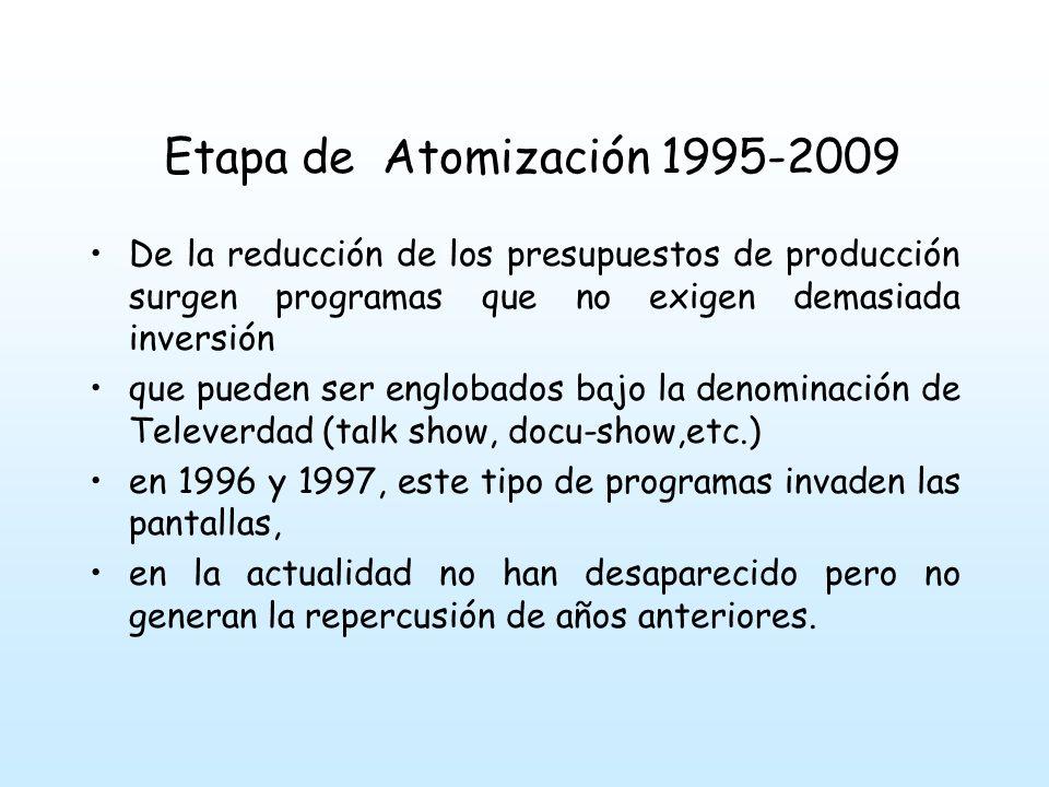Etapa de Atomización 1995-2009 De la reducción de los presupuestos de producción surgen programas que no exigen demasiada inversión.