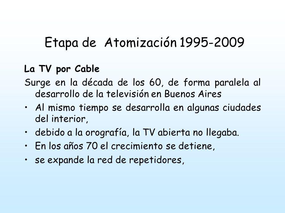 Etapa de Atomización 1995-2009 La TV por Cable. Surge en la década de los 60, de forma paralela al desarrollo de la televisión en Buenos Aires.