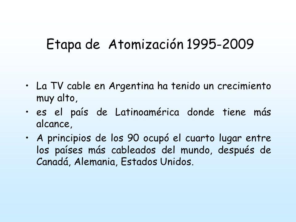 Etapa de Atomización 1995-2009 La TV cable en Argentina ha tenido un crecimiento muy alto, es el país de Latinoamérica donde tiene más alcance,