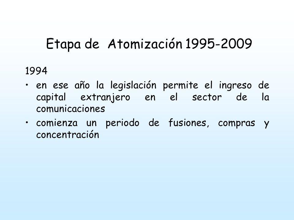 Etapa de Atomización 1995-2009 1994. en ese año la legislación permite el ingreso de capital extranjero en el sector de la comunicaciones.