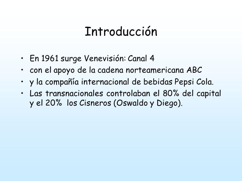 Introducción En 1961 surge Venevisión: Canal 4