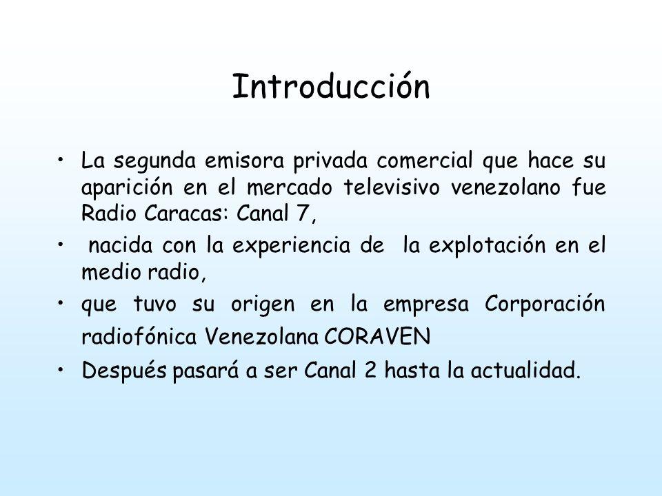 Introducción La segunda emisora privada comercial que hace su aparición en el mercado televisivo venezolano fue Radio Caracas: Canal 7,