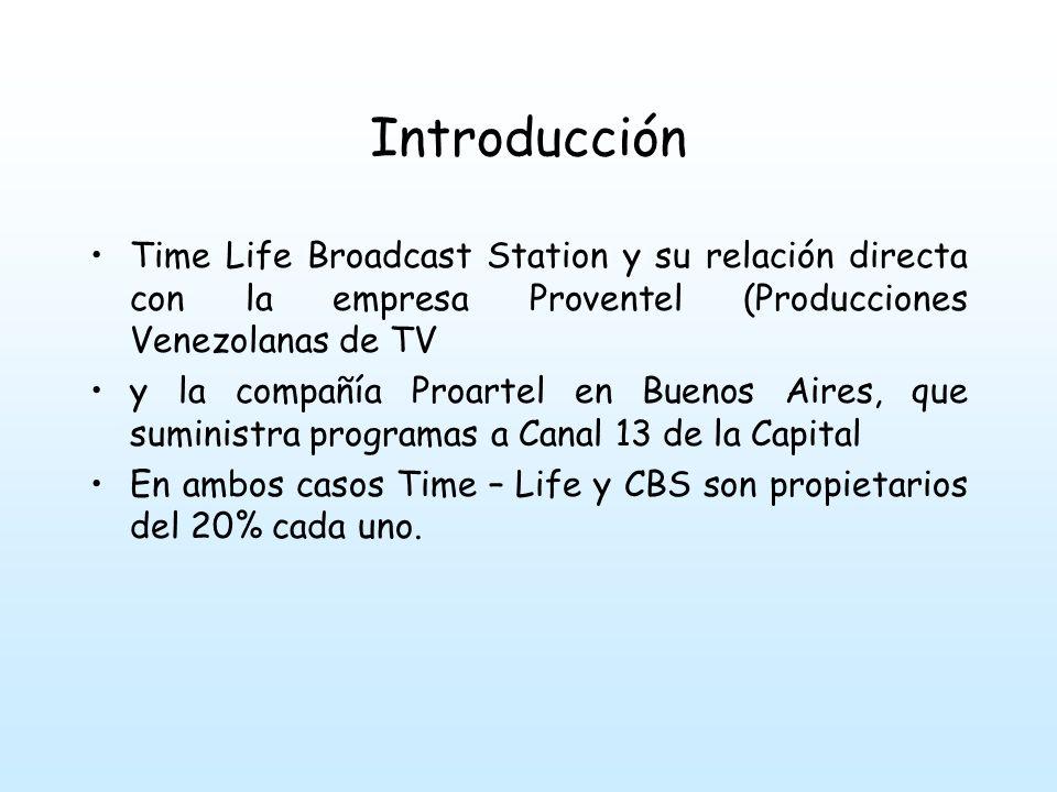 Introducción Time Life Broadcast Station y su relación directa con la empresa Proventel (Producciones Venezolanas de TV.
