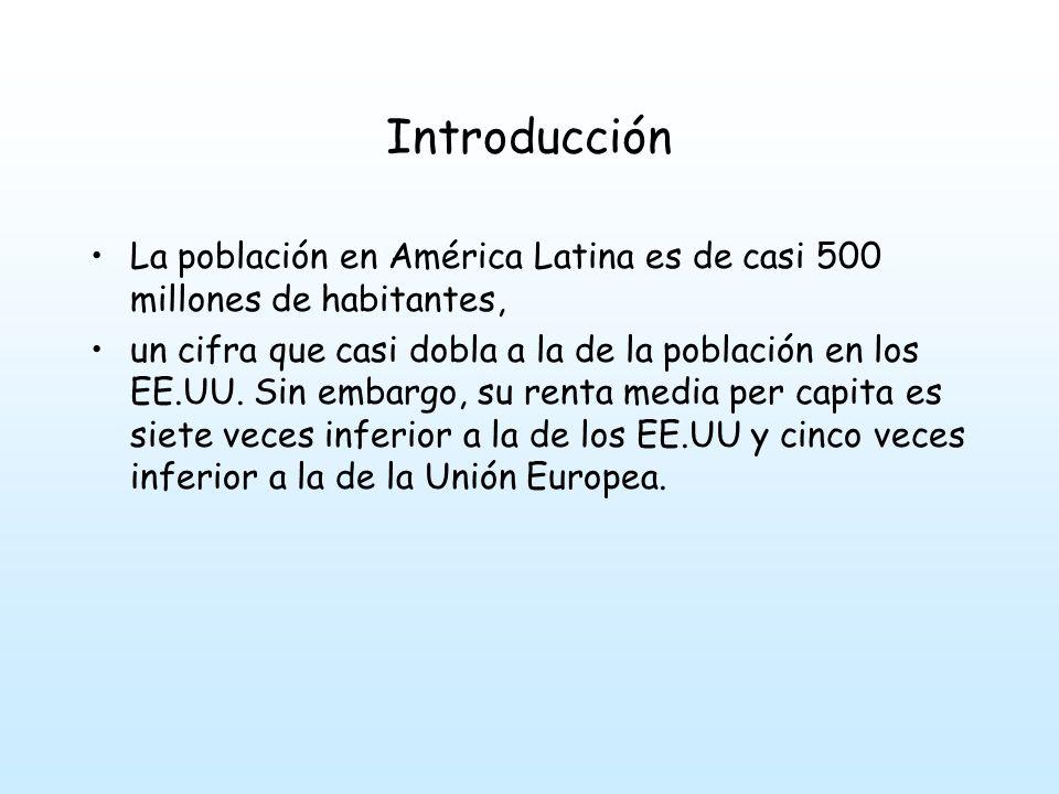 Introducción La población en América Latina es de casi 500 millones de habitantes,