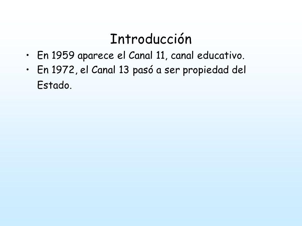 Introducción En 1959 aparece el Canal 11, canal educativo.