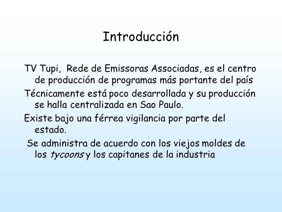Introducción TV Tupi, Rede de Emissoras Associadas, es el centro de producción de programas más portante del país.