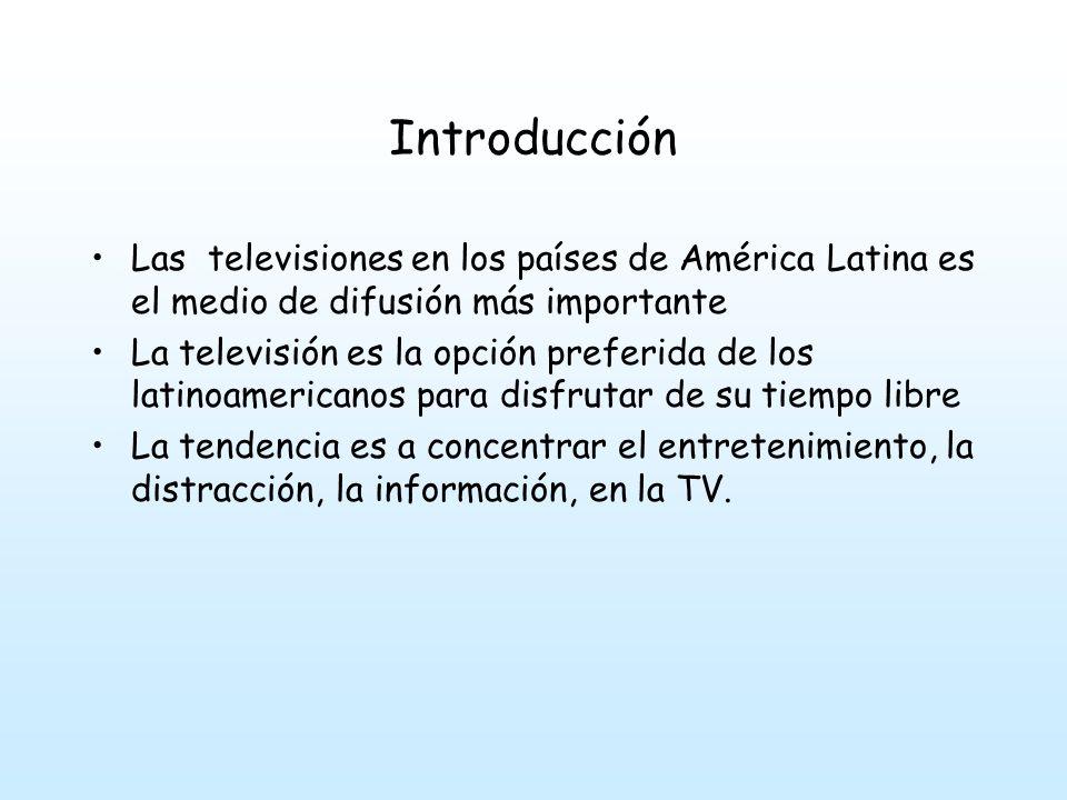 Introducción Las televisiones en los países de América Latina es el medio de difusión más importante.