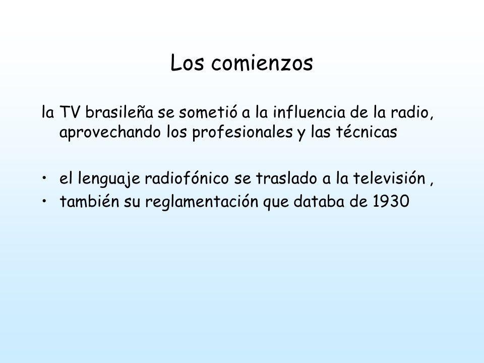 Los comienzos la TV brasileña se sometió a la influencia de la radio, aprovechando los profesionales y las técnicas.