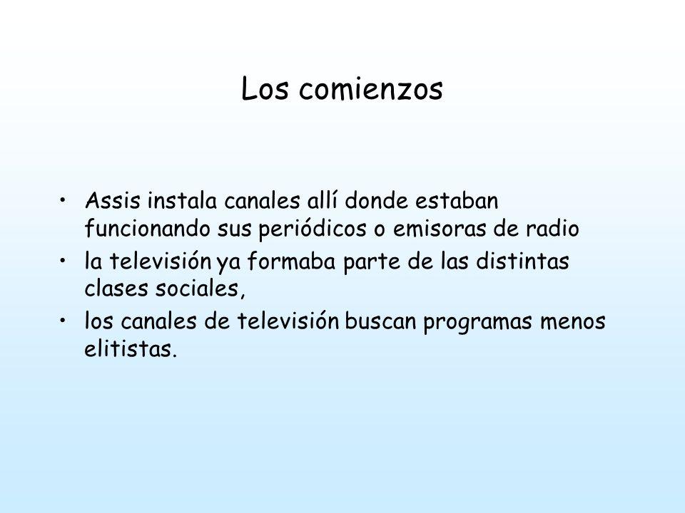 Los comienzos Assis instala canales allí donde estaban funcionando sus periódicos o emisoras de radio.