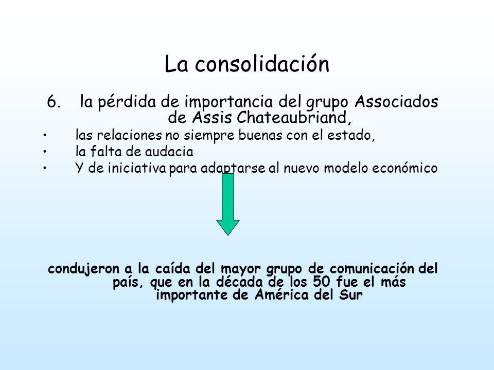 la pérdida de importancia del grupo Associados de Assis Chateaubriand,