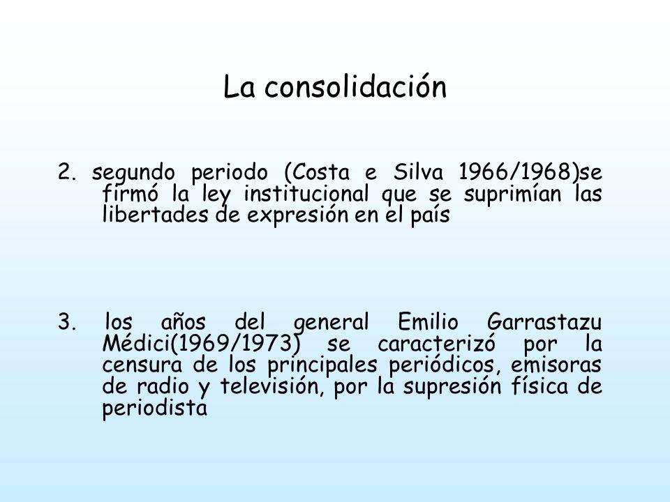 La consolidación 2. segundo periodo (Costa e Silva 1966/1968)se firmó la ley institucional que se suprimían las libertades de expresión en el país.