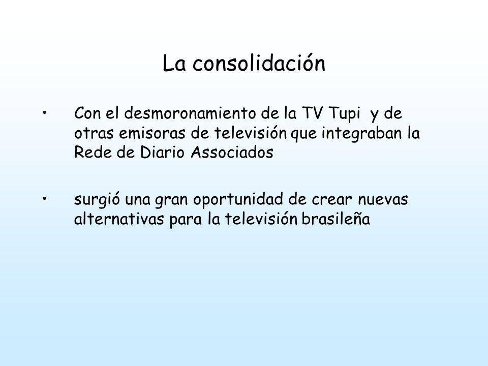La consolidación Con el desmoronamiento de la TV Tupi y de otras emisoras de televisión que integraban la Rede de Diario Associados.