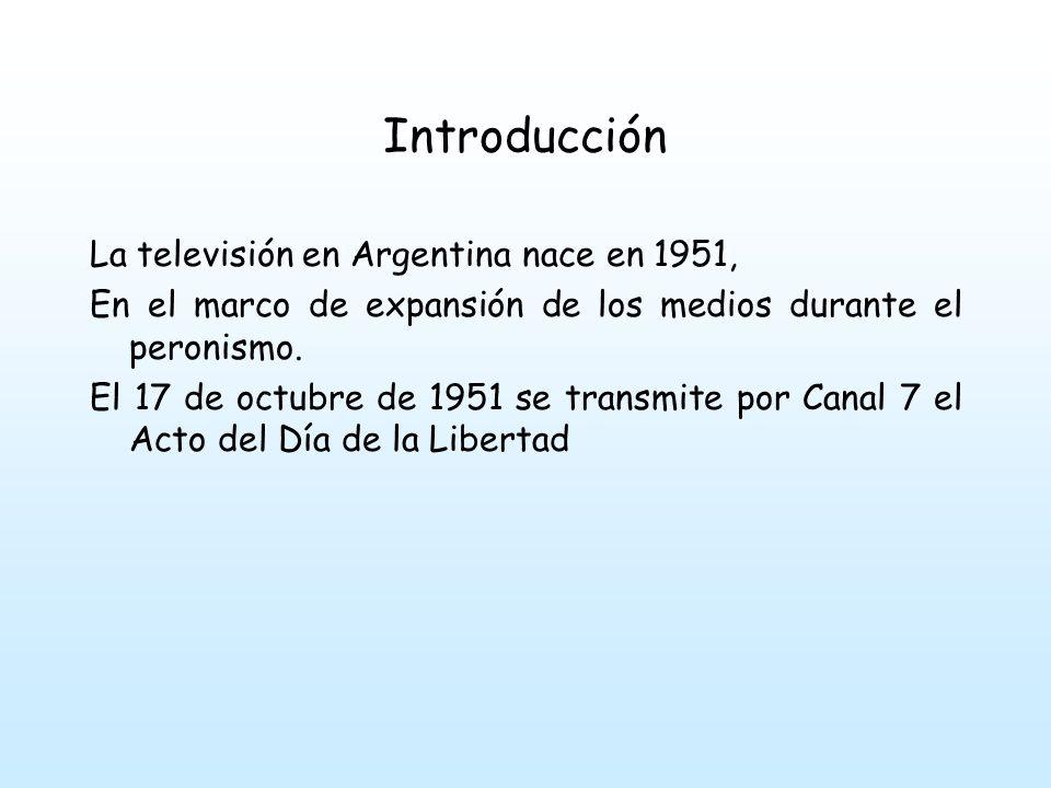 Introducción La televisión en Argentina nace en 1951,