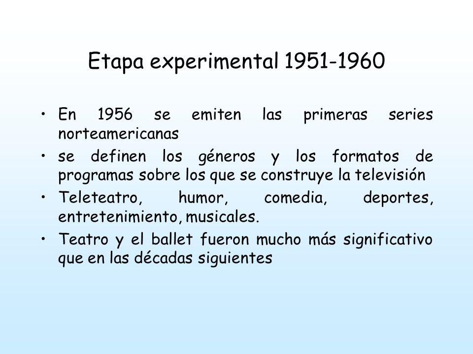 Etapa experimental 1951-1960 En 1956 se emiten las primeras series norteamericanas.
