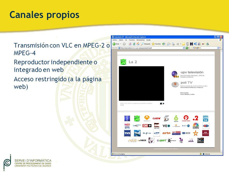 Canales propios Transmisión con VLC en MPEG-2 o MPEG-4