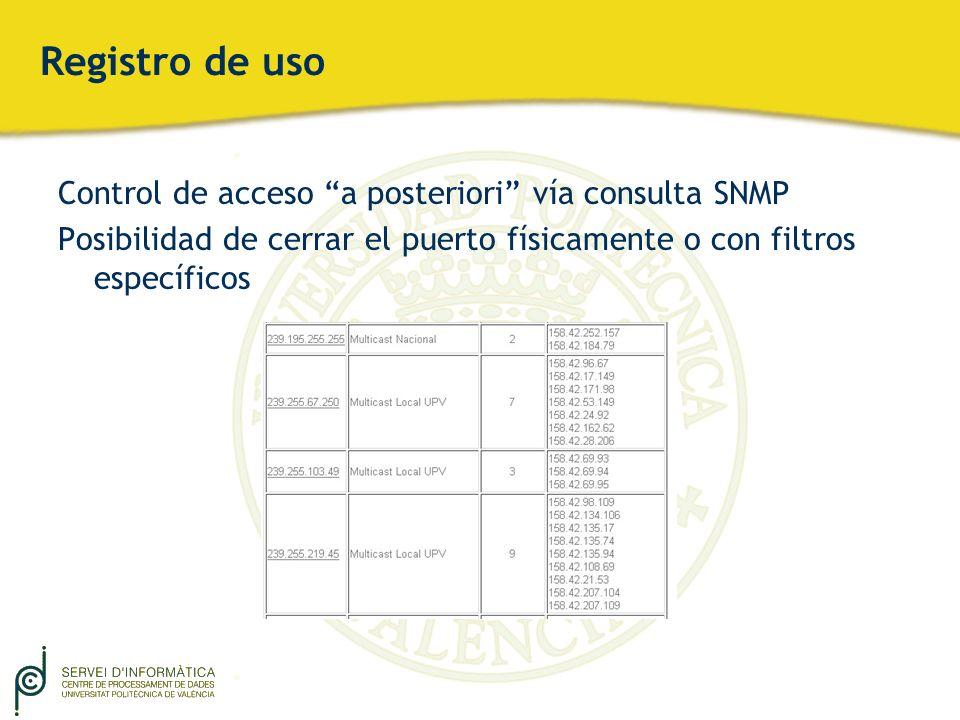 Registro de uso Control de acceso a posteriori vía consulta SNMP