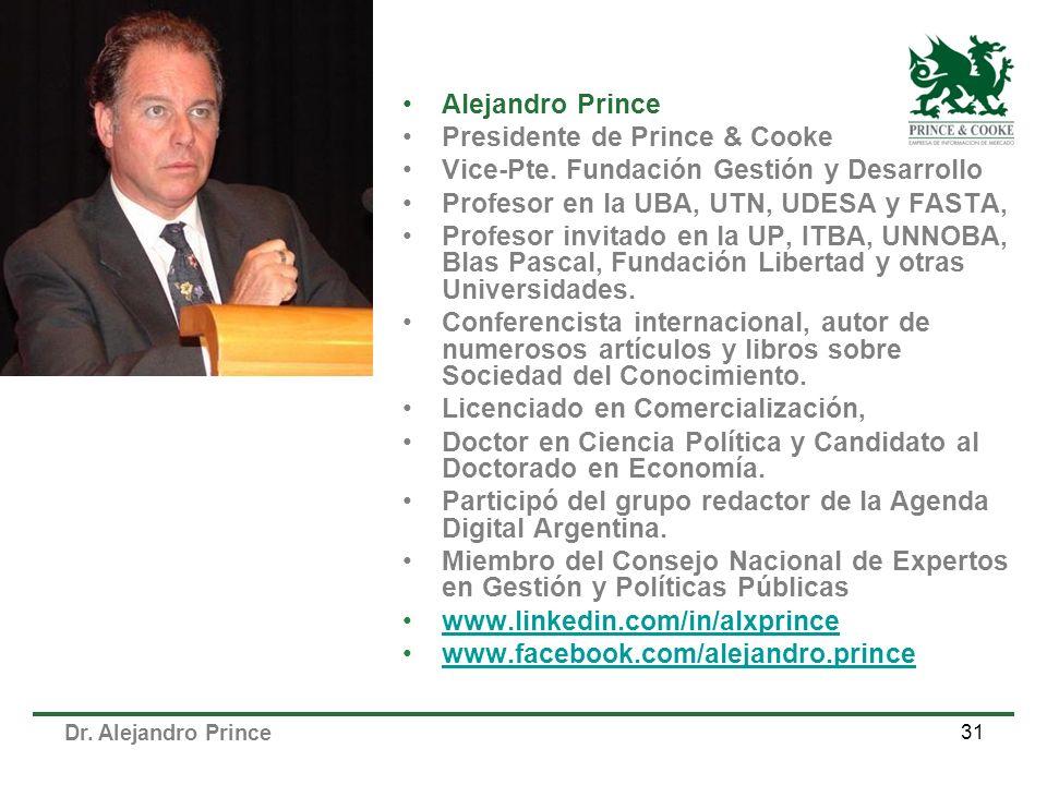 Alejandro Prince Presidente de Prince & Cooke. Vice-Pte. Fundación Gestión y Desarrollo. Profesor en la UBA, UTN, UDESA y FASTA,