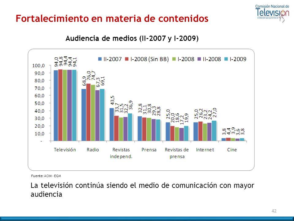 Audiencia de medios (II-2007 y I-2009)