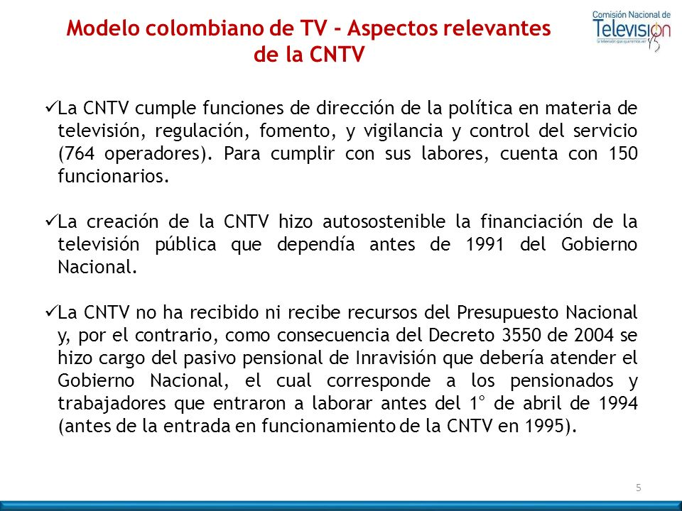 Modelo colombiano de TV - Aspectos relevantes