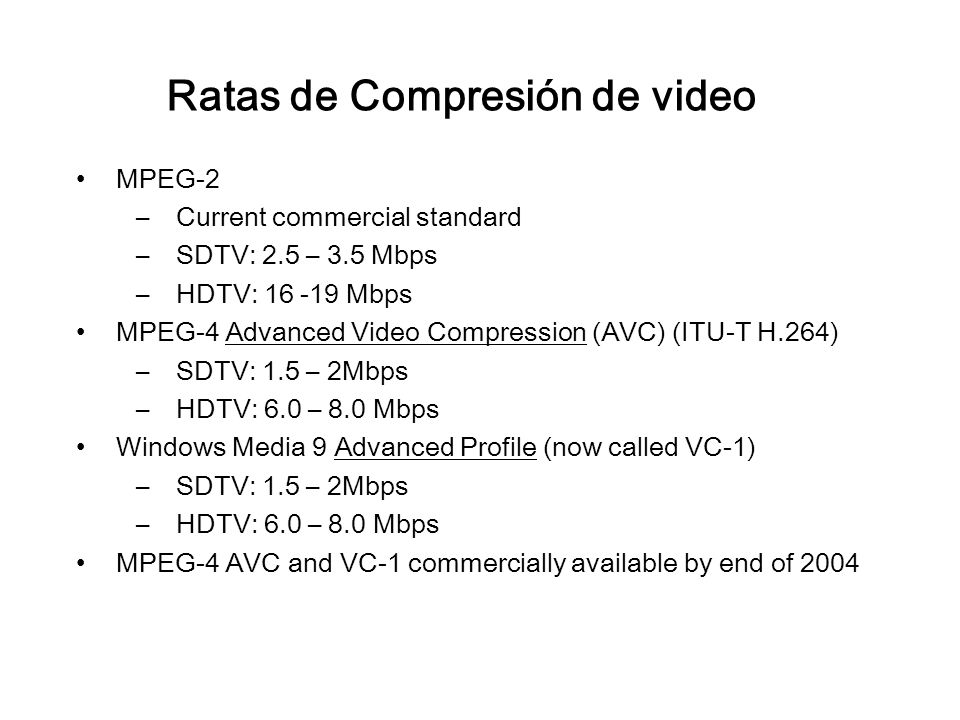 Ratas de Compresión de video