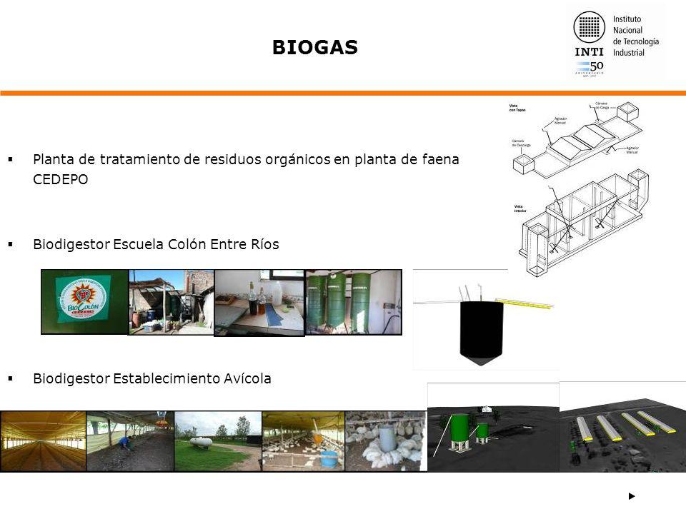 BIOGAS Planta de tratamiento de residuos orgánicos en planta de faena CEDEPO. Biodigestor Escuela Colón Entre Ríos.
