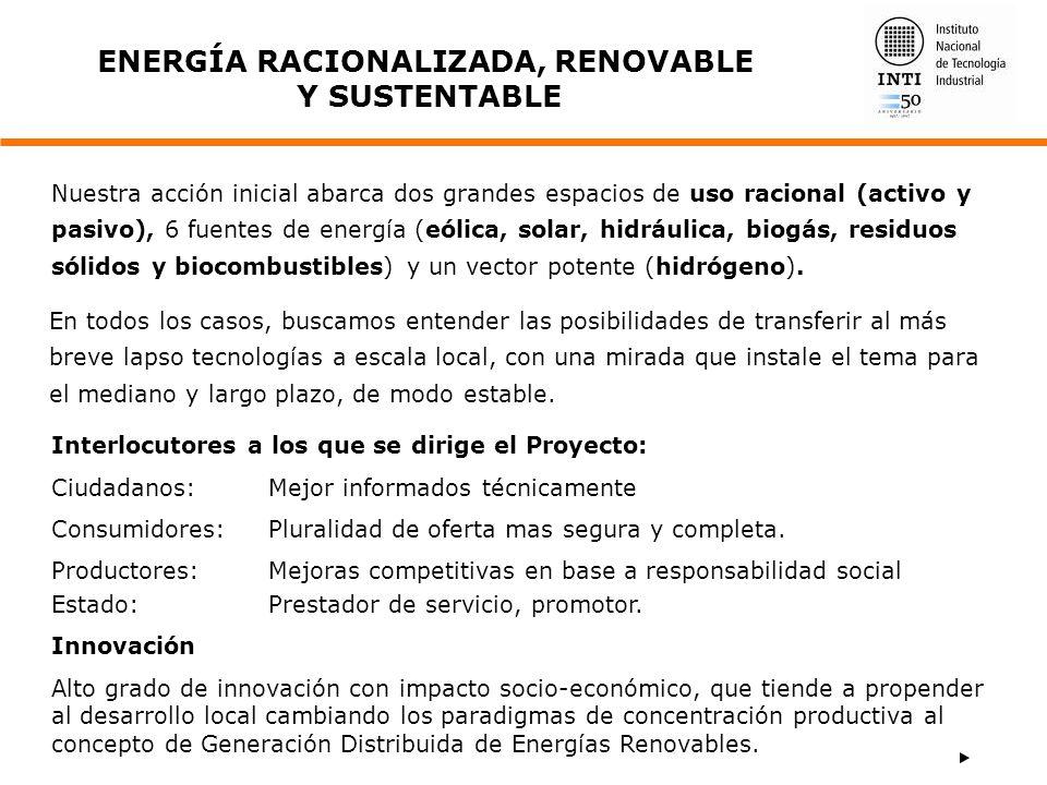 ENERGÍA RACIONALIZADA, RENOVABLE