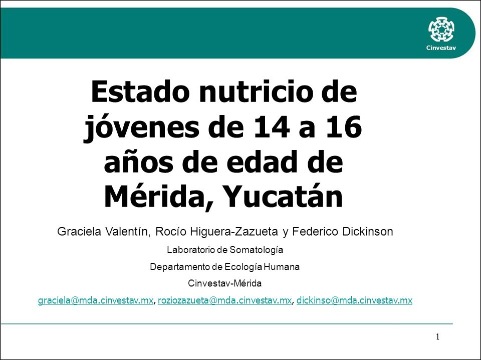 Estado nutricio de jóvenes de 14 a 16 años de edad de Mérida, Yucatán