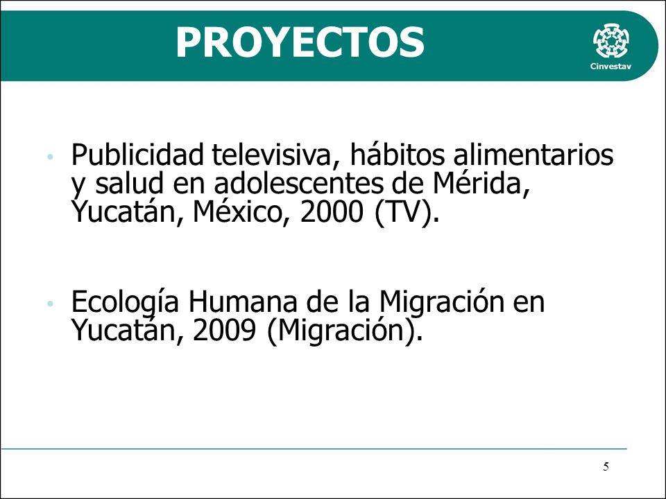 PROYECTOS Publicidad televisiva, hábitos alimentarios y salud en adolescentes de Mérida, Yucatán, México, 2000 (TV).