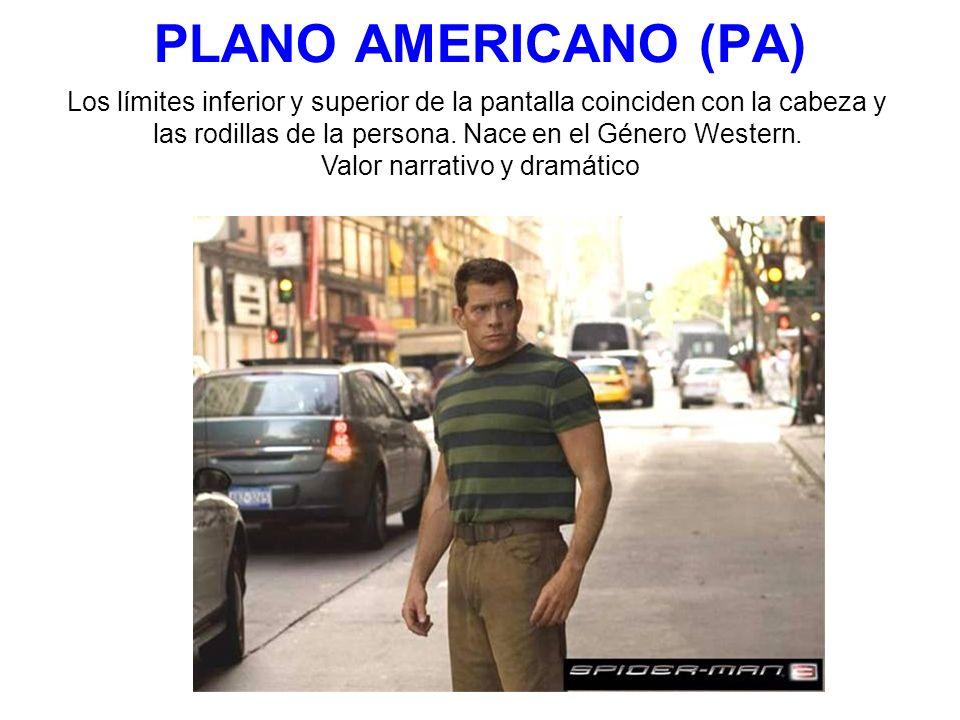PLANO AMERICANO (PA) Los límites inferior y superior de la pantalla coinciden con la cabeza y.