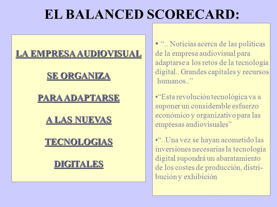 EL BALANCED SCORECARD: LA EMPRESA AUDIOVISUAL