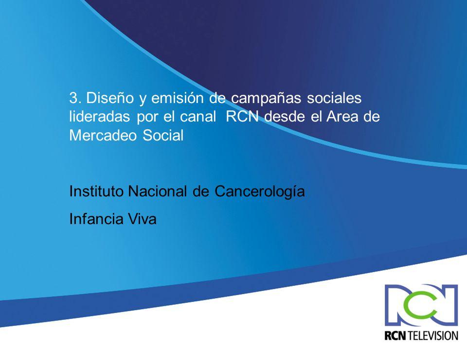 3. Diseño y emisión de campañas sociales lideradas por el canal RCN desde el Area de Mercadeo Social