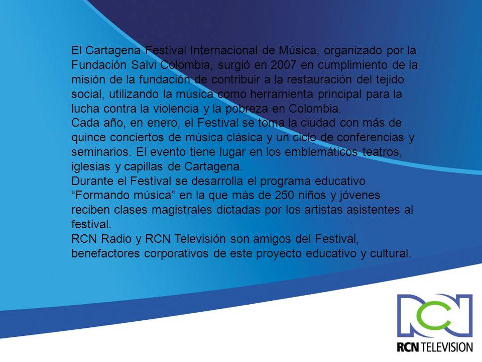 El Cartagena Festival Internacional de Música, organizado por la Fundación Salvi Colombia, surgió en 2007 en cumplimiento de la misión de la fundación de contribuir a la restauración del tejido social, utilizando la música como herramienta principal para la lucha contra la violencia y la pobreza en Colombia.