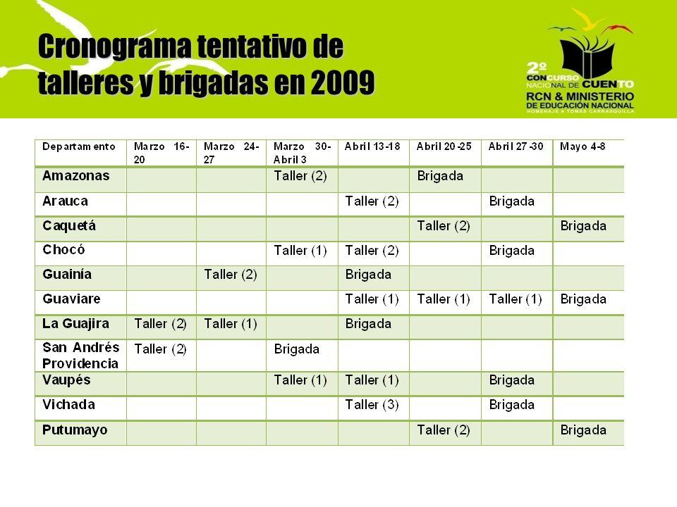 Cronograma tentativo de talleres y brigadas en 2009