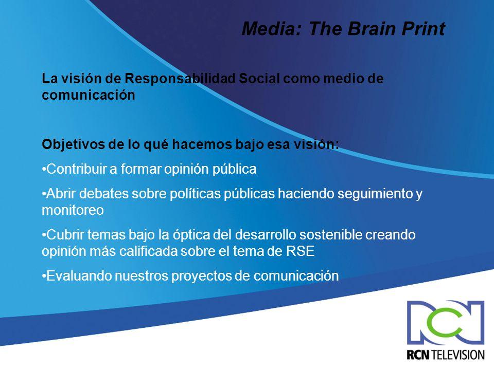 Media: The Brain Print La visión de Responsabilidad Social como medio de comunicación. Objetivos de lo qué hacemos bajo esa visión: