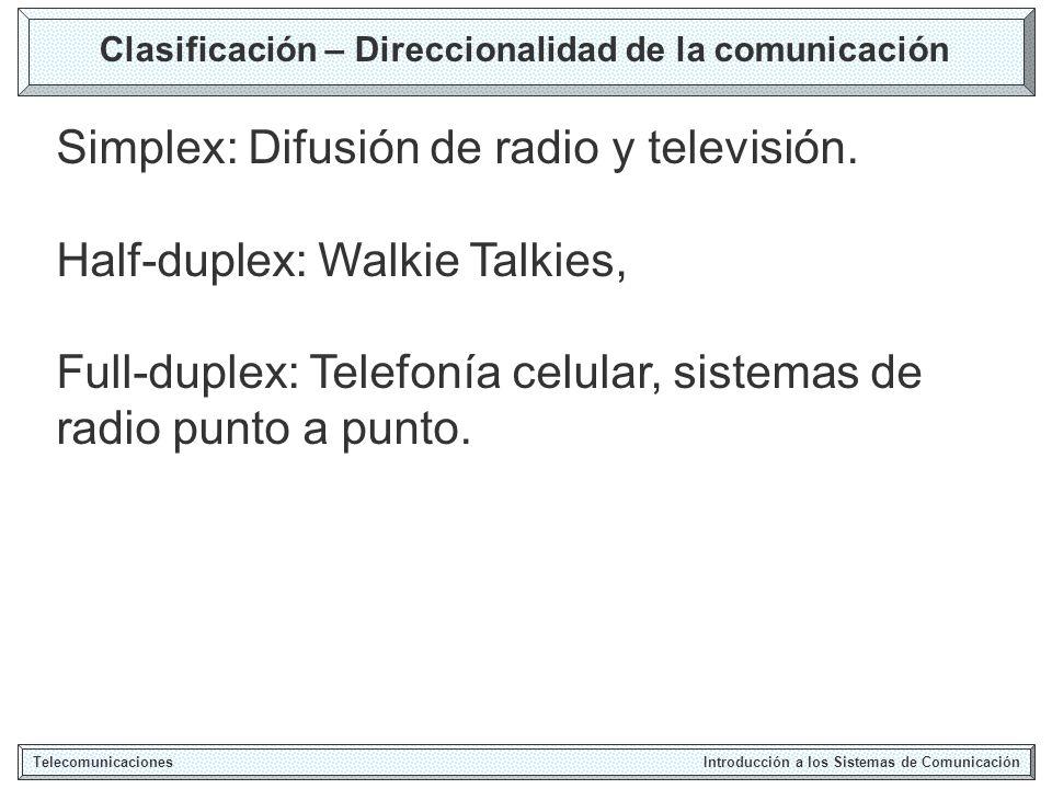 Clasificación – Direccionalidad de la comunicación