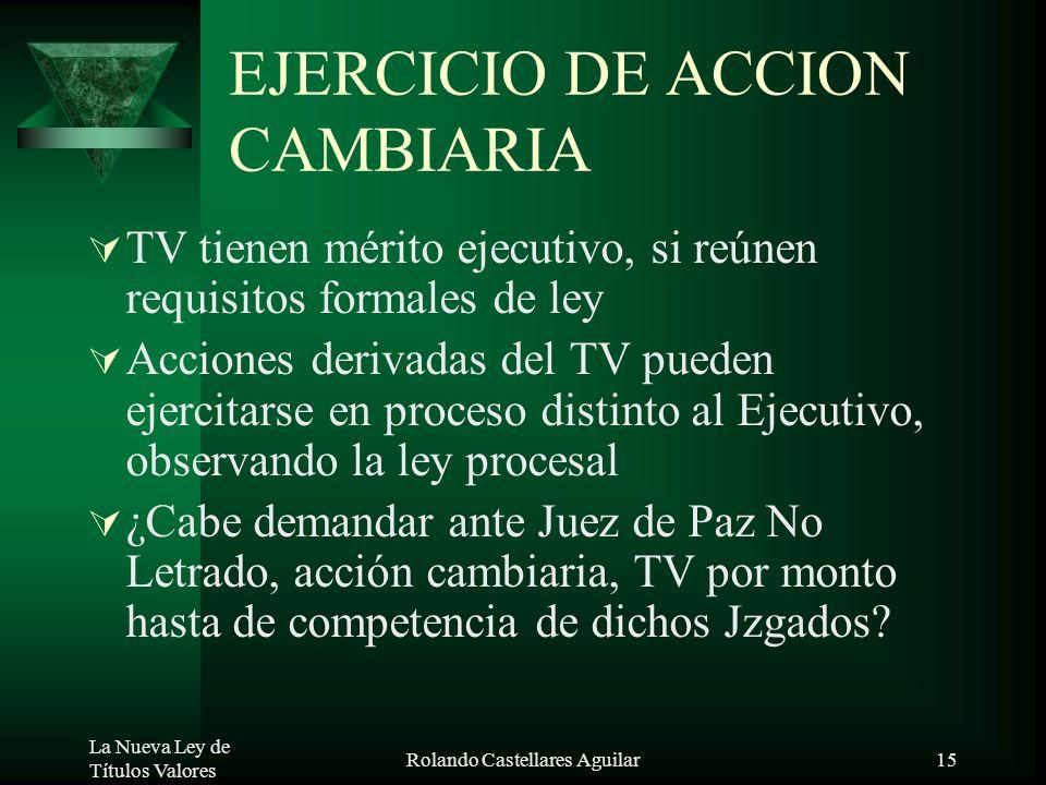 EJERCICIO DE ACCION CAMBIARIA