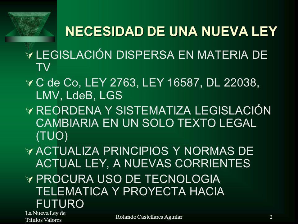 NECESIDAD DE UNA NUEVA LEY
