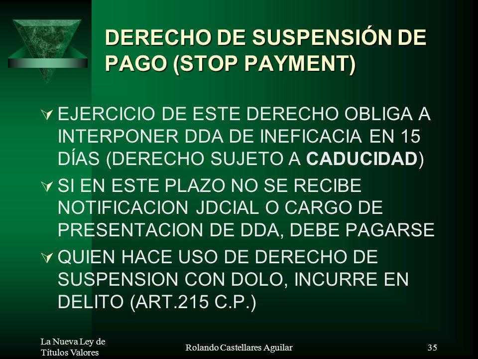 DERECHO DE SUSPENSIÓN DE PAGO (STOP PAYMENT)