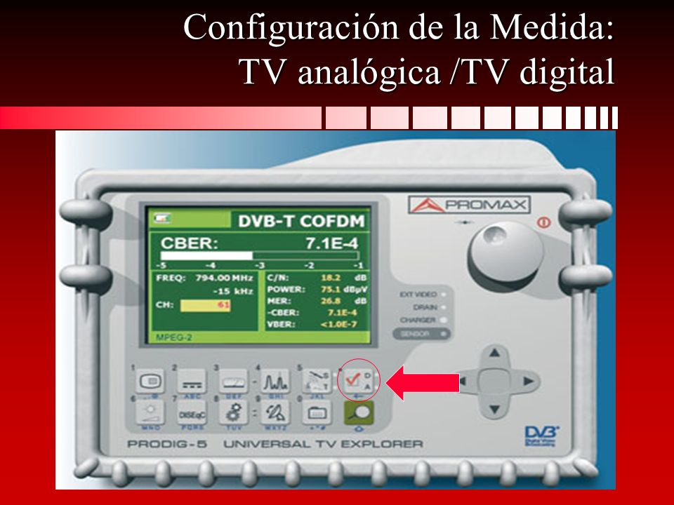 Configuración de la Medida: TV analógica /TV digital