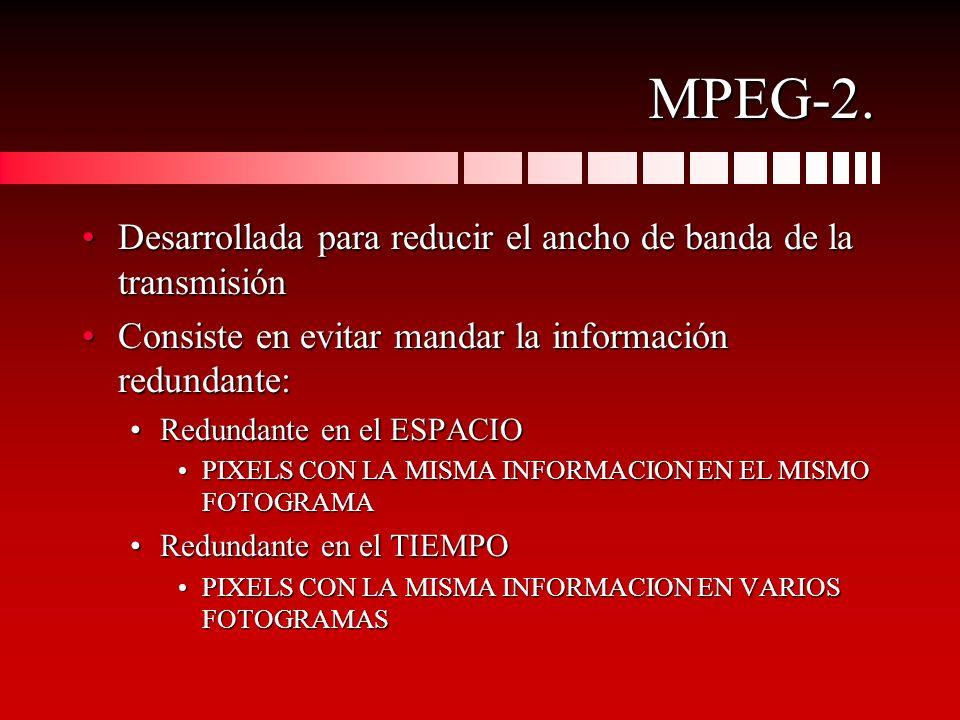 MPEG-2. Desarrollada para reducir el ancho de banda de la transmisión