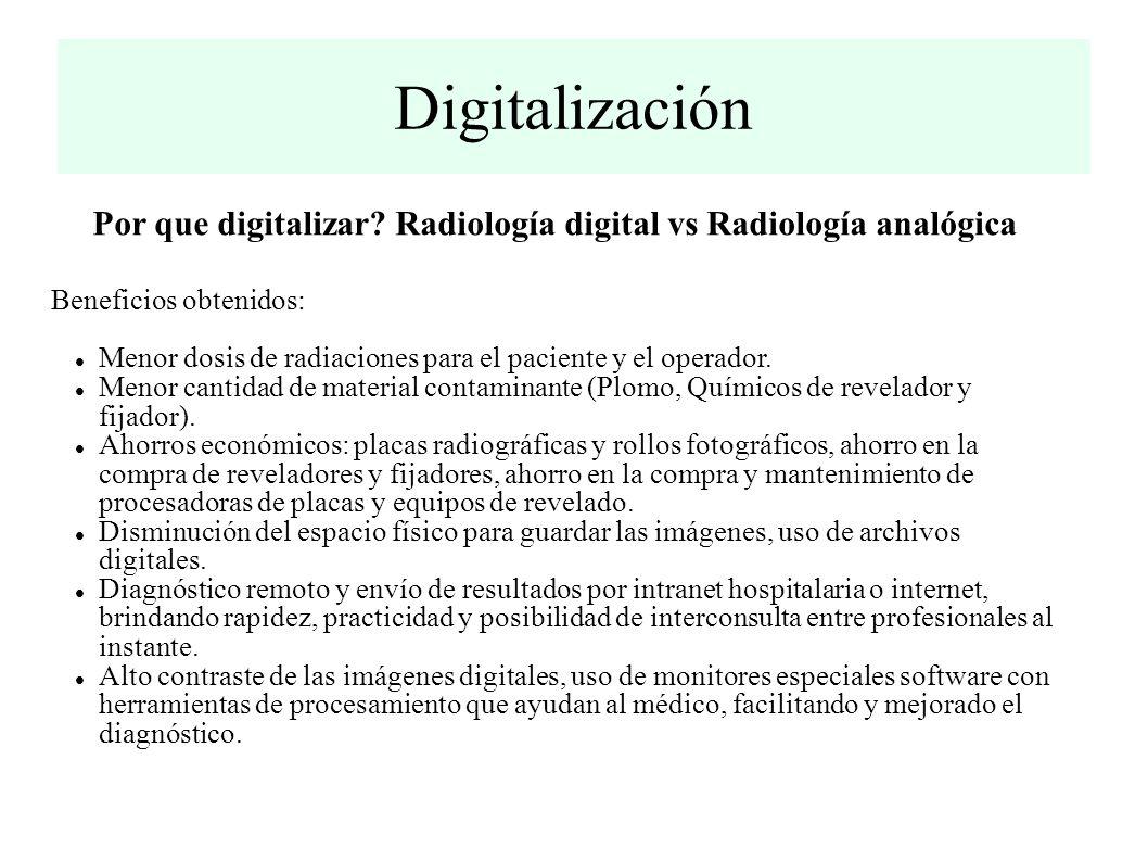 Digitalización Por que digitalizar Radiología digital vs Radiología analógica. Beneficios obtenidos: