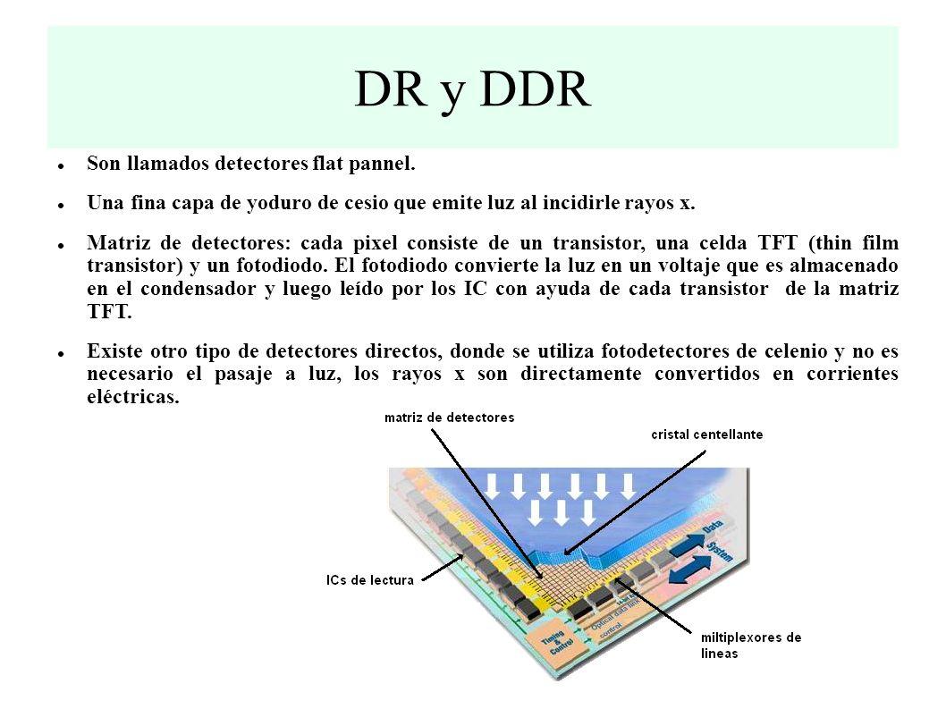 DR y DDR Son llamados detectores flat pannel.
