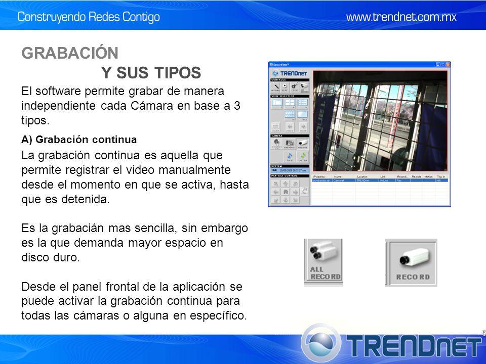 GRABACIÓN Y SUS TIPOS El software permite grabar de manera independiente cada Cámara en base a 3 tipos.