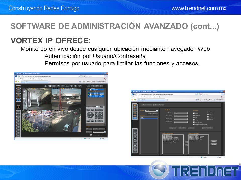 SOFTWARE DE ADMINISTRACIÓN AVANZADO (cont...) VORTEX IP OFRECE: